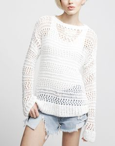 summer open knit sweater