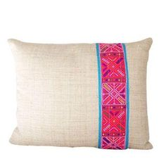 Handwoven natural hemp pillow with finely embroidered vintage Hmong applique.    Totally one-of-a-kind, stunning earth tones make a perfect match for a modern, global home.