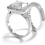 5 Carat Princess Cushion Cut Grade AAAAA CZ Engagement Ring & Band Set. 18K White Gold Plated - Size 7 / http://www.realweddingday.com/5-carat-princess-cushion-cut-grade-aaaaa-cz-engagement-ring-band-set-18k-white-gold-plated-size-7
