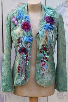 Purple roses jacket -bohemian romantic , altered couture, embroidered and beaded details,old laces