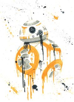 """BB-8 Splatter"" by Ian Everett Lee. Prints available! Watercolor."