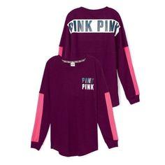 | PINK | Varsity Crew Oversized maroon and pink varsity crew! Super cool mesh detailing on sleeves! PINK Victoria's Secret Sweaters Crew & Scoop Necks
