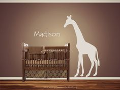 Personalized Custom Giraffe Animal Nursery Wall Decal Crib Name Baby Shower gift Idea Present  African Safari Nursery Theme Looking crib