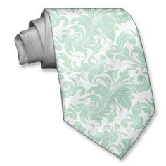 Elegant Mint-Green And White Floral Damasks Tie   Mint ...