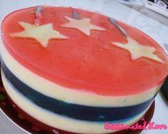 Durian Agar Agar Cake with Stars #durian #stars #patriotic #agaragar #estimatedlove #jellycake #jelly #party