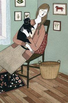 She must be a nice lady; she has a black cat!  artwork by Ylena Bryksenkova