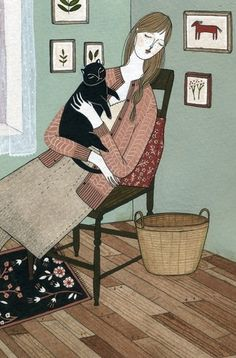 She must be a nice lady; she has a black cat!  artwork by Ylena Bryksenkova