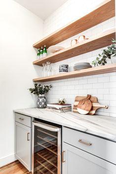 Home Decor Ideas White kitchens, built in kitchen shelves, wood kitchen shelf inspiration, built in Wooden Kitchen, Wooden Shelves Kitchen, Kitchen Remodel, Shelf Inspiration, Kitchen Shelf Inspiration, Home Renovation, Wood Kitchen, Kitchen Renovation, Kitchen Design