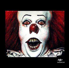 Print 8x10  Pennywise  IT Clown Stephen King Horror by chuckhodi, $10.00