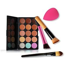 Ubeauty 15 Colors Contour Face Cream Makeup Concealer Palette  3PCS Powder Brush With Free Foundation Puff Sponge >>> You can find more details by visiting the image link. (Note:Amazon affiliate link)