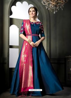 A Bunch Of Silk Embroidered Evening Wear Anarkali Style Salwar Suit Set.Renovate your boutique collection by adding this salwar suit from the popular wholsale brand. Silk Anarkali Suits, Half Saree Lehenga, Saree Gown, Anarkali Dress, Anarkali Bridal, Indian Anarkali, Salwar Suits, Saree Blouse, Sarees