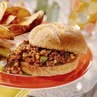 320 calorie Tex-Mex Sloppy Joes. Recipe calls for ground chicken, but I use ground beef.