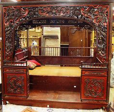 574 A Chinese Carved Hardwood Wedding Canopy Bed Chinese Wedding Beds Antique Chinese