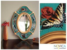 Working in traditional Andean style, Edmundo Contreras handcrafts an exquisite wall mirror. Butterflies browse colorful blossoms, painted by hand on panes of glass and set in gilded panels.