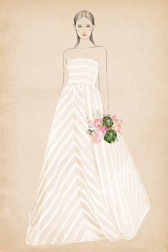strapless at Matha Stewart Weddings by Sandra Suy - Pencil, Watercolor illustration. Fashion, Beauty