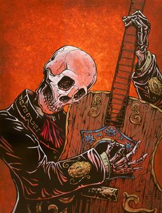 The skeleton mariachi strums his stringless guitar, imagining musical days gone by. Paper Prints The 8 x 10 and 12 x 18 El Guitarrista prints are produced with archival ink on glossy paper and are per