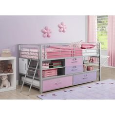 DHP Junior Twin Silver Locker Loft Bed with Trundle | Jet.com