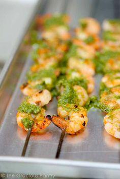 Clean Eating Barbecued Shrimp with Cilantro Pesto Recipe