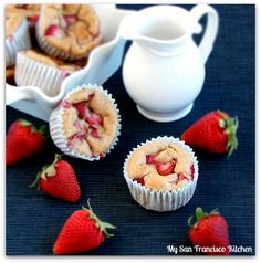Low-Fat Strawberry Banana Muffins. 25 mins, no oil or butter. Uses some of my all time fave healthy dessert ingredients: greek yogurt, apple sauce, cinnamon, whole wheat, and of course banana and strawberries!