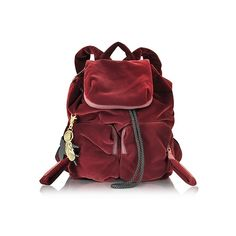 See by Chloé Joy Rider Grape Velvet Small Backpack (€275) ❤ liked on Polyvore featuring bags, backpacks, burgundy, handbags, draw string bag, backpack bags, drawstring backpack bag, velvet drawstring bags and red backpack