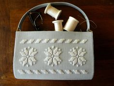 machine embroidered purse with wool thread