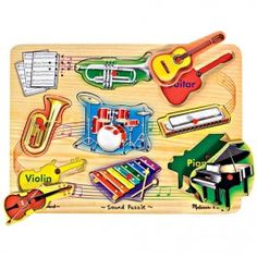 Musical Instruments Sound Puzzle. Melissa & Doug's Musical Instruments Sound Puzzle is a cool and exciting way to introduce your toddler to the most well known sounds in music. http://www.educationaltoysplanet.com/musical-instruments-sound-puzzle.html