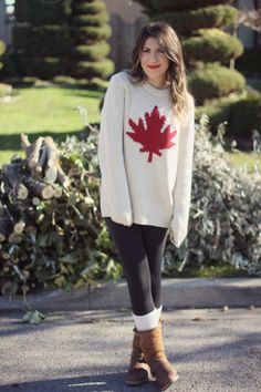 Super cozy Canada sweater and outfit. Girl Fashion, Fashion Outfits, Womens Fashion, Casual Outfits, Cute Outfits, Hippy Chic, Kate Spade, Cool Style, My Style