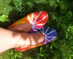 Tunisian crochet slippers.