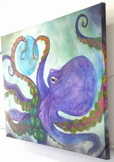 Painting by Carrie Kohan Purple Octopus Carrie, Carry On, Purple, Octopus, Artwork, Painting, Work Of Art, Hand Luggage, Auguste Rodin Artwork