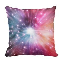 coloful cosmos explosion of energy white red blue throw pillow