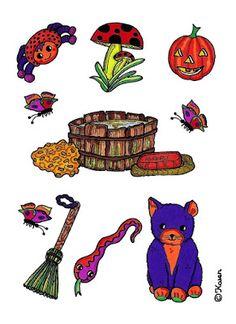 Karen`s Paper Dolls: Forest Cutouts and Postcards to Print in Colours. Skov klippeark og postkort til at printe i farver.