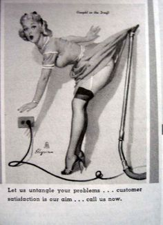 Because in the history of vacuuming, women have ALWAYS done housework in six inch heels and garters.