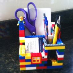 DIY LEGO desk organizer~Oh, my son will love making one of these!
