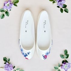 Handpainted wildflower flat wedding shoes, with blue thistle and lavender flowers. Designed and made by Elizabeth Rose London Beach Wedding Shoes, Flower Aesthetic, Bride Shoes, Lavender Flowers, Painted Shoes, Wedding Accessories, Art For Kids, Hand Painted, Flats