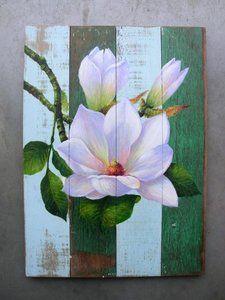 magnolia Wood Pallet Art, Pallet Painting, Tole Painting, Painting On Wood, Wood Art, Painting & Drawing, Palette Art, Arte Floral, Painting Techniques