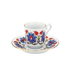 Turkish Coffee Cup & Saucer (with gold) - Tulips