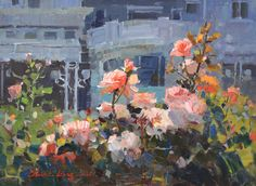 """American Legacy Fine Arts presents """"George Thomas Roses at the Club"""" a painting…"""