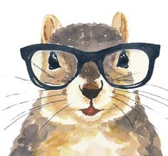 Watercolor Squirrel PRINT Nerdy Squirrel by WaterInMyPaint