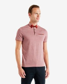 TAYTAY Colour block Oxford polo shirt - Shop for women's Shirt - BRICK RED Shirt