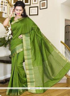 169565f878e Green Print Work Silk Casual Saree. Saree ModelsCasual SareeGreen PrintIndian  Ethnic WearWork CasualSaree WeddingSarees OnlineSariDesigner Sarees