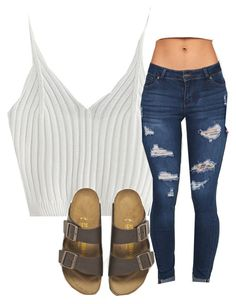 """"""""""" by carlasaenz ❤ liked on Polyvore featuring WithChic and Birkenstock"""
