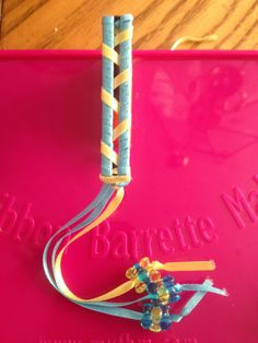 Blue and Yellow Striped Barrette