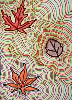Fall leaves drawing using the element of art called repetition. #art