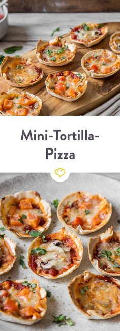 Einfach Tortillas in die Muffinform geben, mit Pizzasauce, Mozzarella, Pilzen und Paprika belegen und heraus kommen viele kleine Mini-Tortilla-Pizzen!