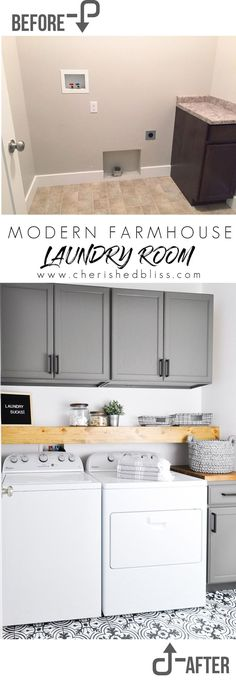 Small laundry rooms-Do laundry in style in this Modern Farmhouse Laundry Room. Come see the transformation from builder grade to gorgeous on a low budget! Laundry Room Remodel, Laundry Closet, Laundry Room Organization, Small Laundry, Laundry Room Design, Laundry In Bathroom, Laundry Rooms, Kitchen Remodel, Laundry Decor