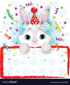 Baby bunny new year frame vector image on VectorStock Cute Easter Bunny, Baby Bunnies, Teaching Aids, Party Hats, Adobe Illustrator, Vector Free, Pikachu, Memes, Clip Art