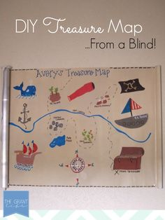 This treasure map made from a roller shade is perfect for a pirate boys bedroom! via @the Grant life