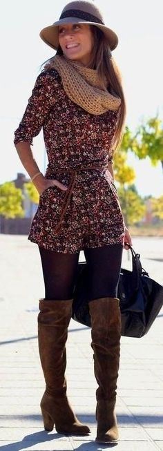 Wide brimmed hat, floral romper, black tights, chunky infinity scarf, and the best brown fall leather boots