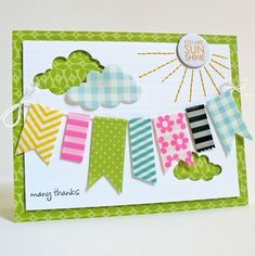 cute washi tape banner!  cloud cut out from washi covered vellum.
