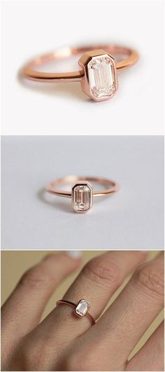 Rose Gold Emerald Cut Engagement Ring / http://www.deerpearlflowers.com/emerald-cut-engagement-rings/